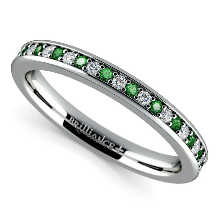 Pave Diamond & Emerald Wedding Ring in White Gold | 01