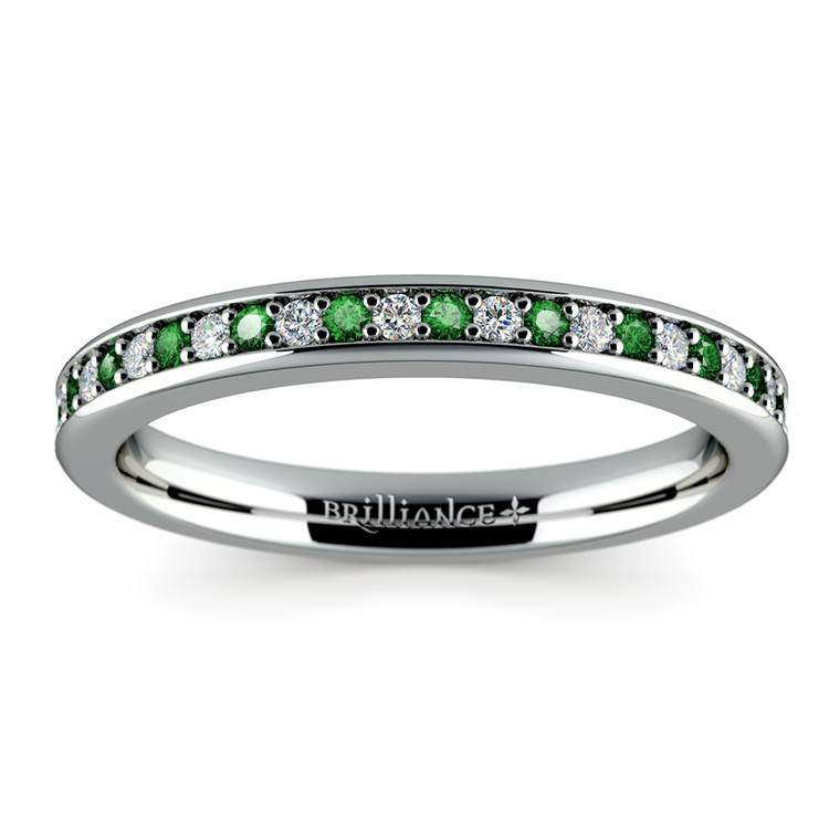 Pave Diamond & Emerald Wedding Ring in White Gold | 02