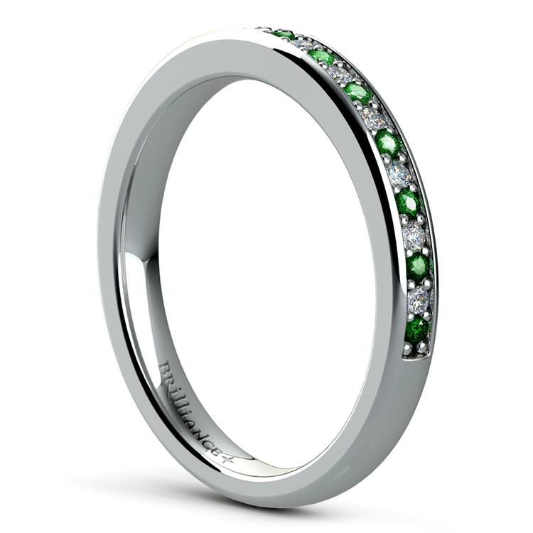 Pave Diamond & Emerald Wedding Ring in White Gold | 04
