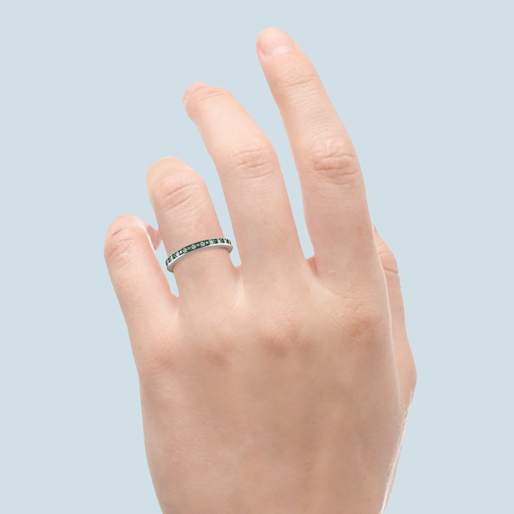 Pave Diamond & Emerald Wedding Ring in White Gold | 06