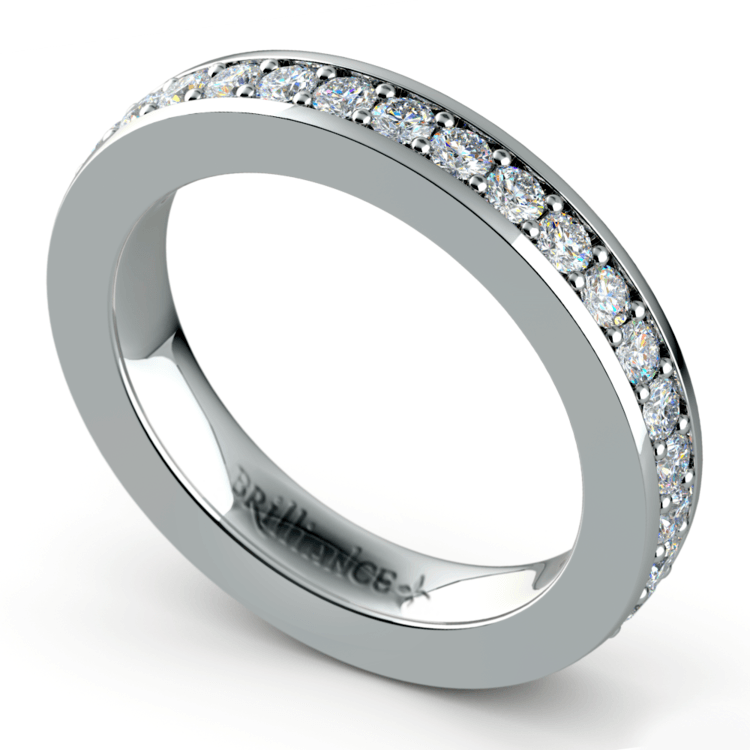 Pave Diamond Eternity Ring in White Gold (1 ctw) | 01