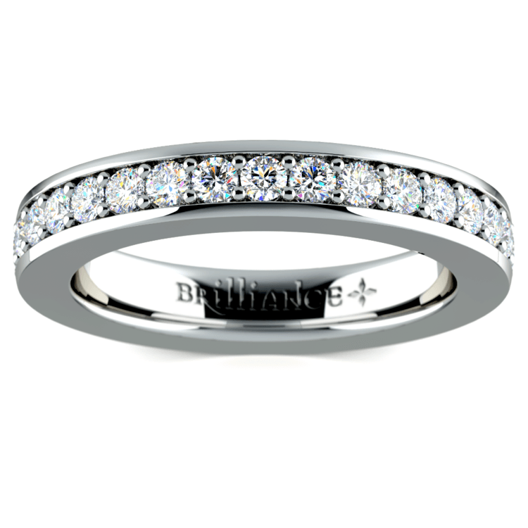 Pave Diamond Eternity Ring in White Gold (1 ctw) | 02