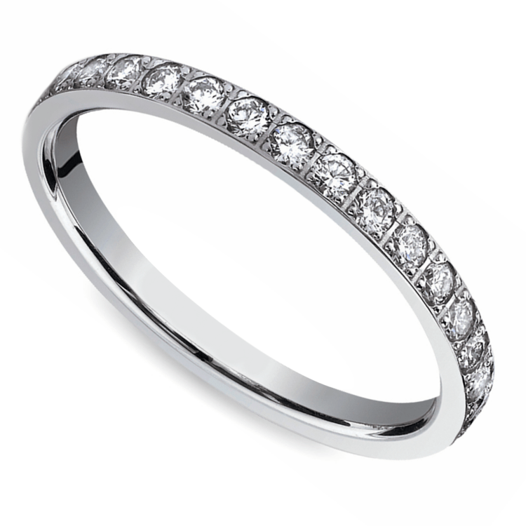 Pave Diamond Eternity Ring in White Gold (3/4 ctw) | 01