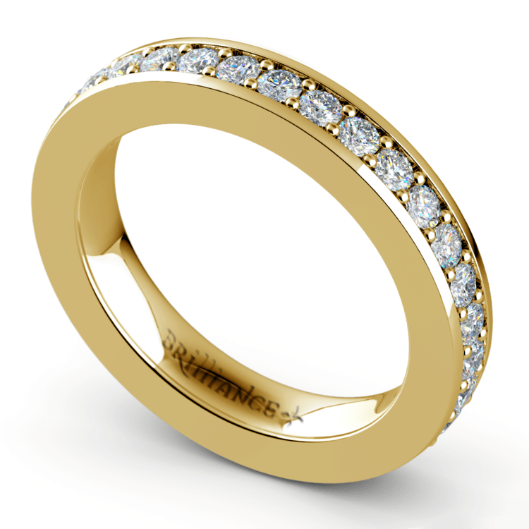 Pave Diamond Eternity Ring in Yellow Gold (1 ctw) | 01