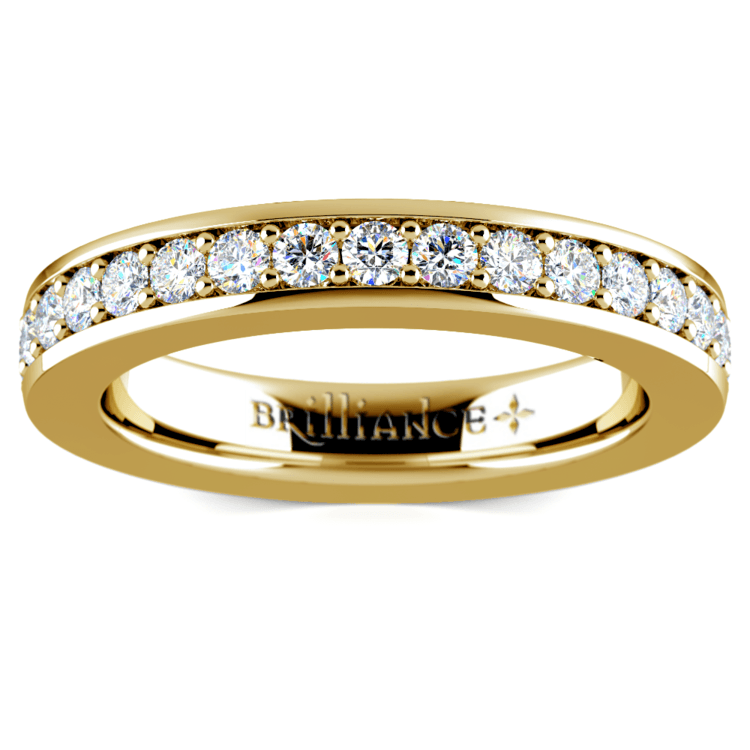 Pave Diamond Eternity Ring in Yellow Gold (1 ctw) | 02
