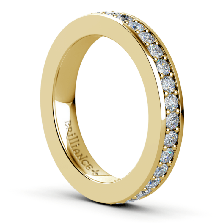 Pave Diamond Eternity Ring in Yellow Gold (1 ctw) | 04