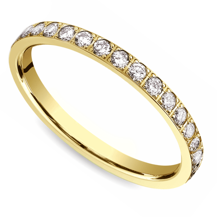 Pave Diamond Eternity Ring in Yellow Gold (3/4 ctw) | 01