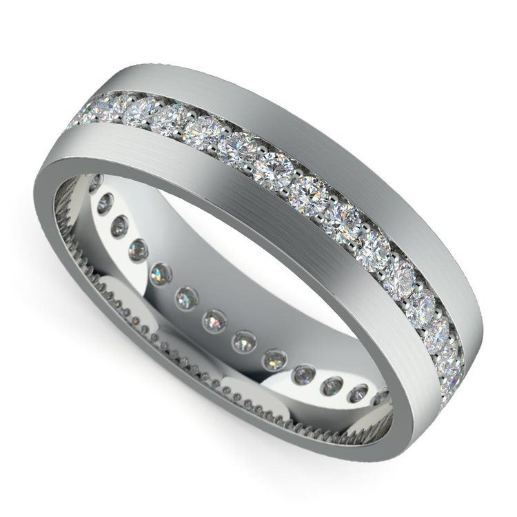 Pave Diamond Eternity Men's Wedding Band in Platinum | 01