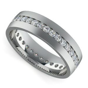 Pave Diamond Eternity Men's Wedding Band in White Gold