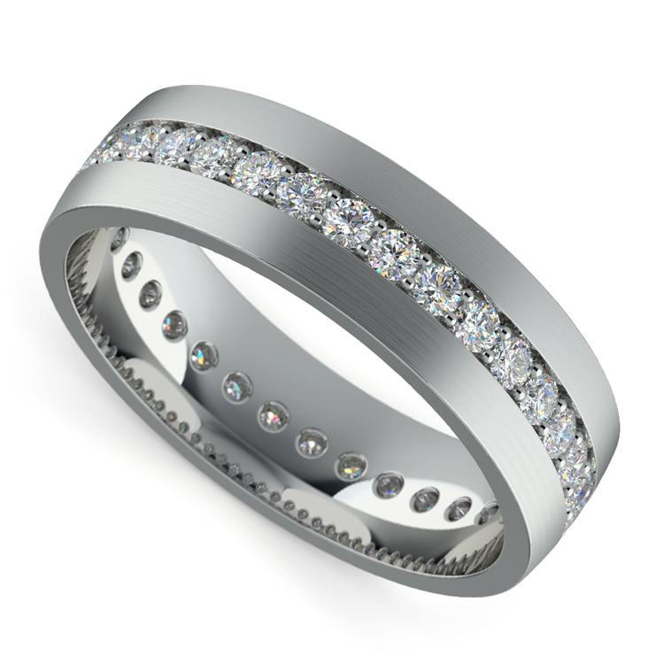 Pave Diamond Eternity Men's Wedding Band in White Gold | 01