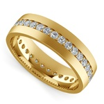 Pave Diamond Eternity Men's Wedding Band in Yellow Gold | Thumbnail 01
