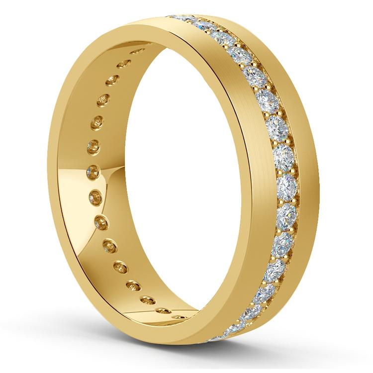 Pave Diamond Eternity Men's Wedding Band in Yellow Gold | 02