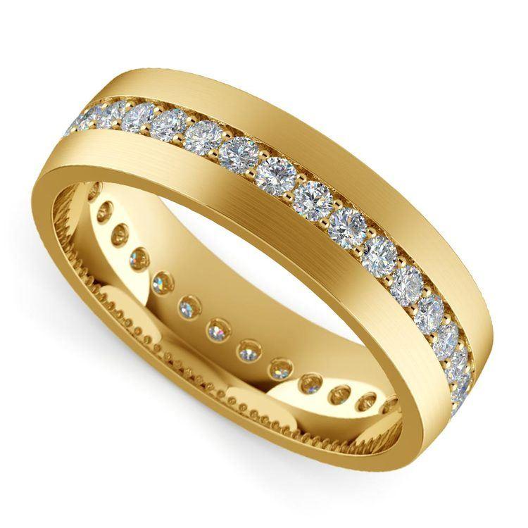 Pave Diamond Eternity Men's Wedding Band in Yellow Gold | 01