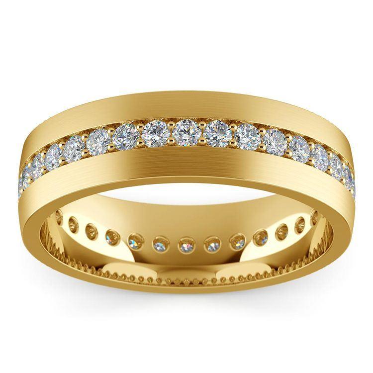 Pave Diamond Eternity Men's Wedding Band in Yellow Gold | 03
