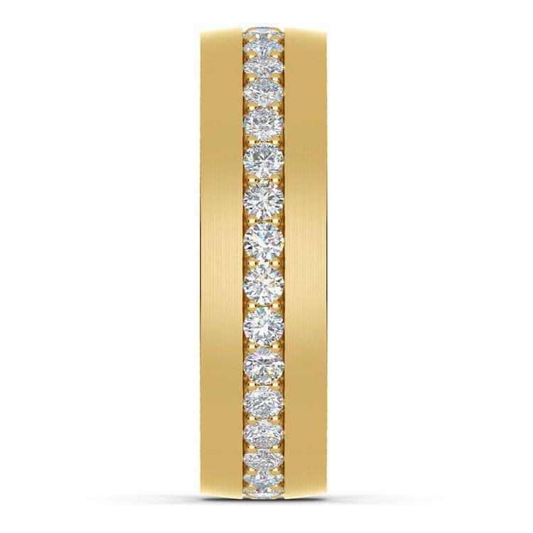 Pave Diamond Eternity Men's Wedding Band in Yellow Gold | 04