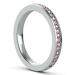 Pave Diamond & Pink Sapphire Eternity Ring in Platinum | Thumbnail 04