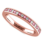 Pave Diamond & Pink Sapphire Eternity Ring in Rose Gold | Thumbnail 01