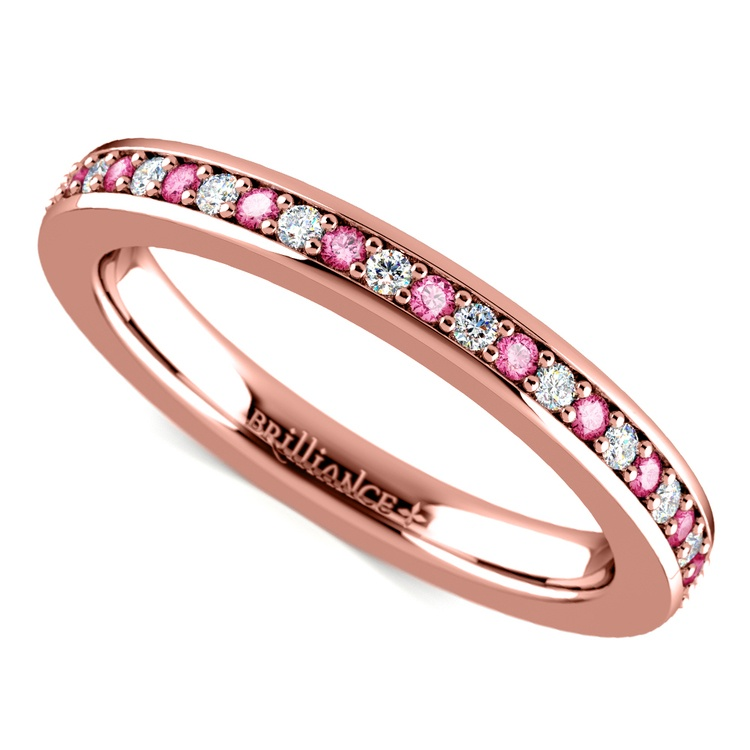 Pave Diamond & Pink Sapphire Eternity Ring in Rose Gold | 01