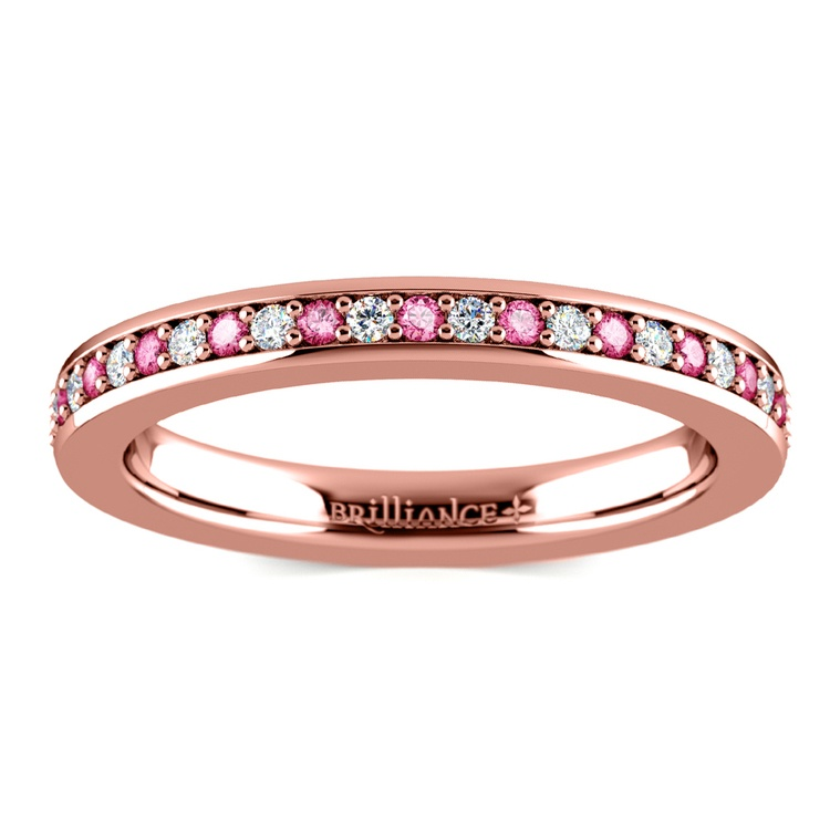 Pave Diamond & Pink Sapphire Eternity Ring in Rose Gold | 02