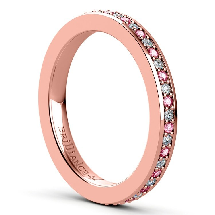 Pave Diamond & Pink Sapphire Eternity Ring in Rose Gold | 04