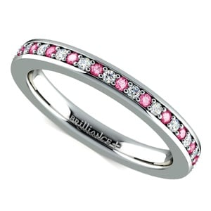 Pave Diamond & Pink Sapphire Eternity Ring in White Gold