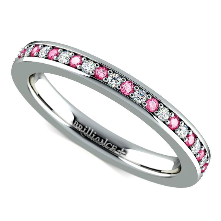 Pave Diamond & Pink Sapphire Eternity Ring in White Gold | 01
