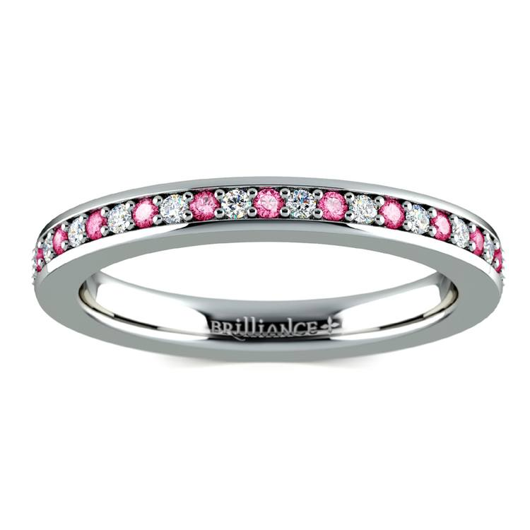 Pave Diamond & Pink Sapphire Eternity Ring in White Gold | 02