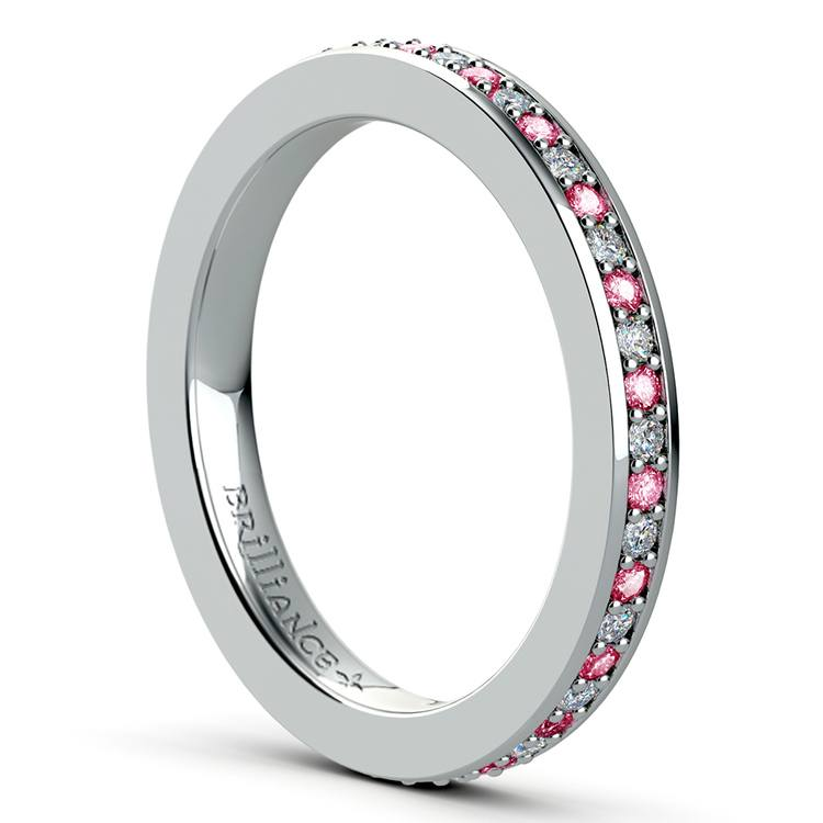 Pave Diamond & Pink Sapphire Eternity Ring in White Gold   04