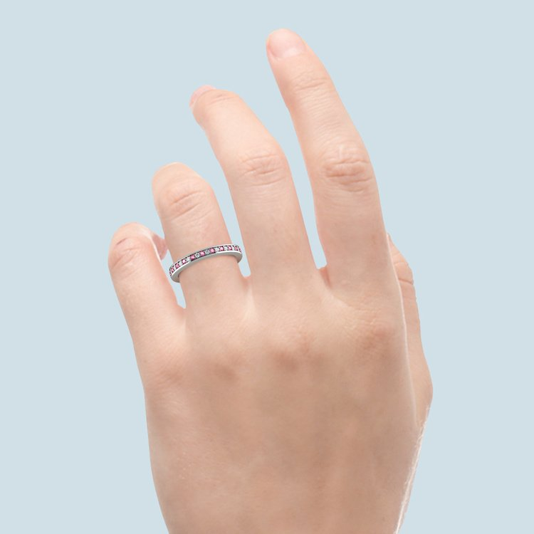 Pave Diamond & Pink Sapphire Eternity Ring in White Gold | 06