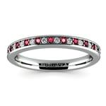 Pave Diamond & Ruby Wedding Ring in Platinum | Thumbnail 02