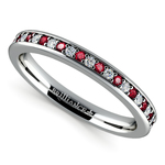 Pave Diamond & Ruby Wedding Ring in White Gold | Thumbnail 01