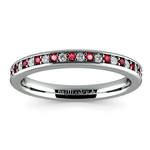 Pave Diamond & Ruby Wedding Ring in White Gold | Thumbnail 02