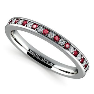 Pave Diamond & Ruby Wedding Ring in White Gold