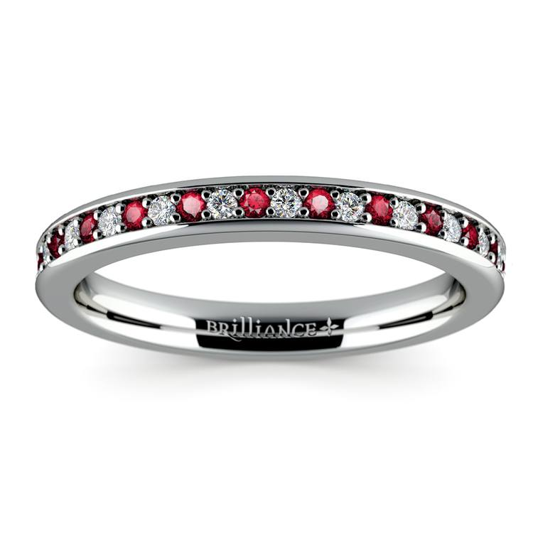 Pave Diamond & Ruby Wedding Ring in White Gold | 02