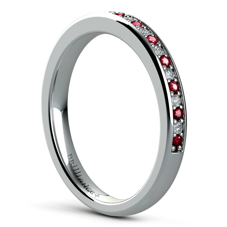 Pave Diamond & Ruby Wedding Ring in White Gold | 04