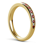 Pave Diamond & Ruby Wedding Ring in Yellow Gold | Thumbnail 04