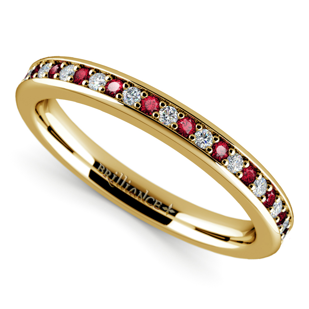 Pave Diamond Ruby Wedding Ring in Yellow Gold