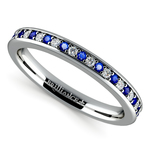 Pave Diamond & Sapphire Wedding Ring in Platinum | Thumbnail 01