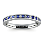 Pave Diamond & Sapphire Wedding Ring in Platinum | Thumbnail 02
