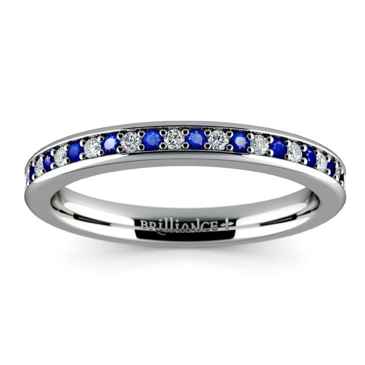 Pave Diamond & Sapphire Wedding Ring in Platinum | 02