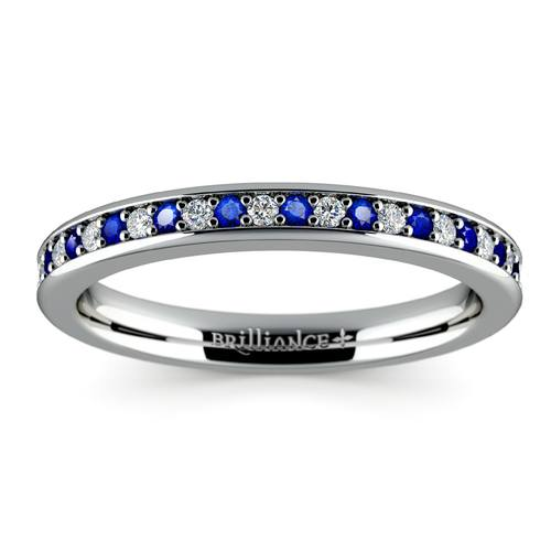 pave diamond sapphire wedding ring in white gold - Sapphire Wedding Rings