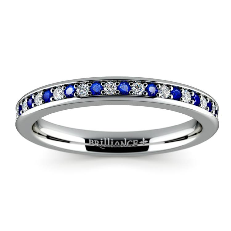 Pave Diamond & Sapphire Wedding Ring in White Gold | 02
