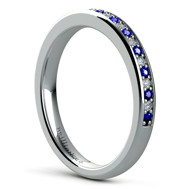 Pave Diamond & Sapphire Wedding Ring in White Gold | 04