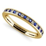 Pave Diamond & Sapphire Wedding Ring in Yellow Gold | Thumbnail 01