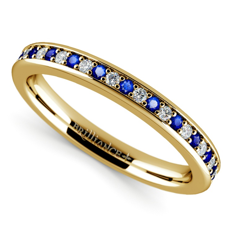 Pave Diamond & Sapphire Wedding Ring in Yellow Gold | 01
