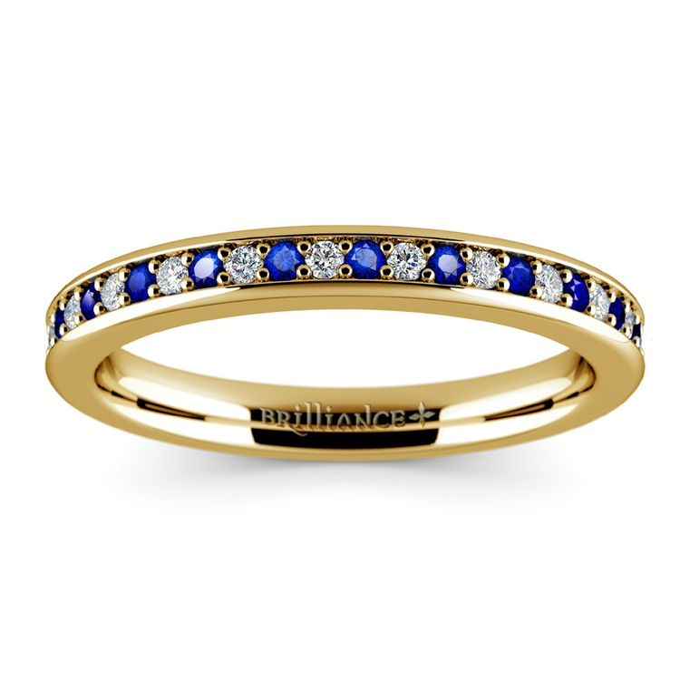Pave Diamond & Sapphire Wedding Ring in Yellow Gold | 02