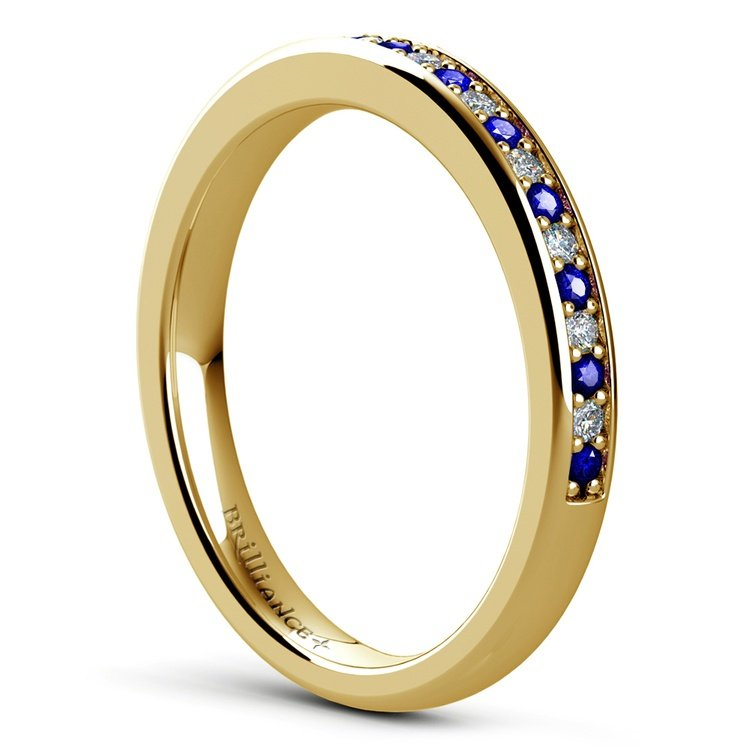 Pave Diamond & Sapphire Wedding Ring in Yellow Gold | 04
