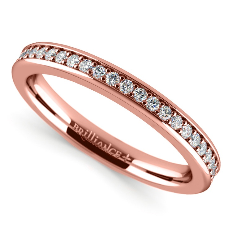 Pave Diamond Wedding Ring in Rose Gold | Zoom