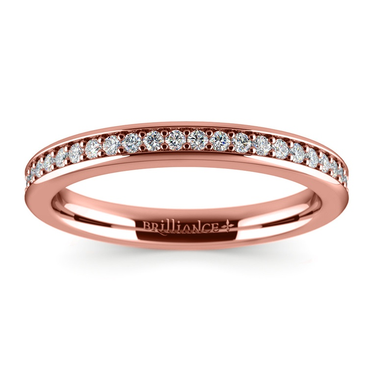 Pave Diamond Wedding Ring in Rose Gold | 02
