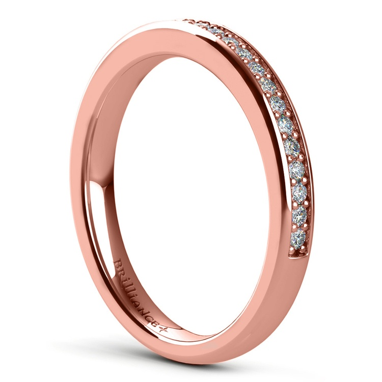 Pave Diamond Wedding Ring in Rose Gold | 04